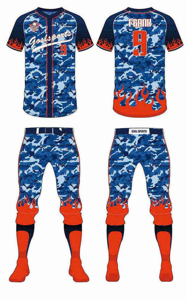 Full Sublimated custom made mens team custom camo baseball jersey