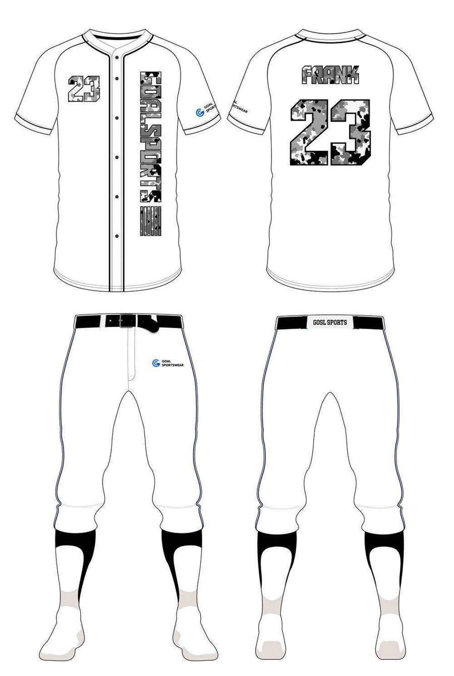 Full dye sublimation wholesale custom custom camo baseball jersey