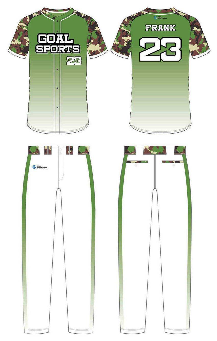 Full polyester breathable custom design sublimated custom camo baseball jersey