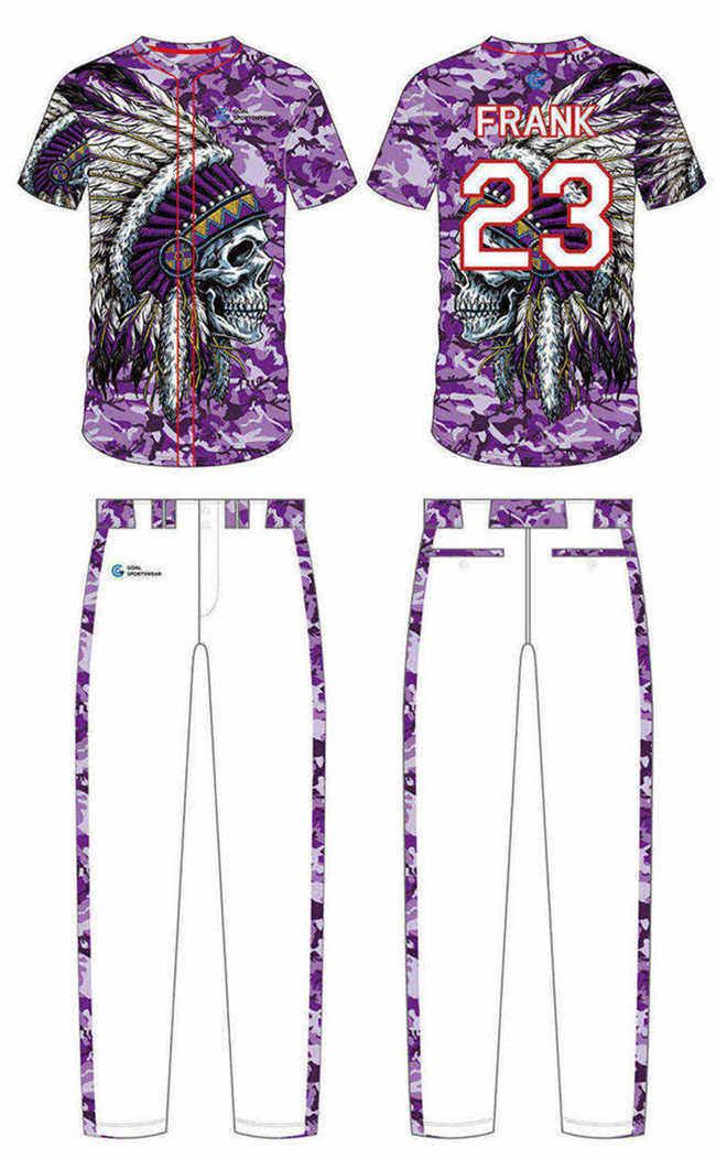 High school custom design sublimated reversible custom camo baseball jersey