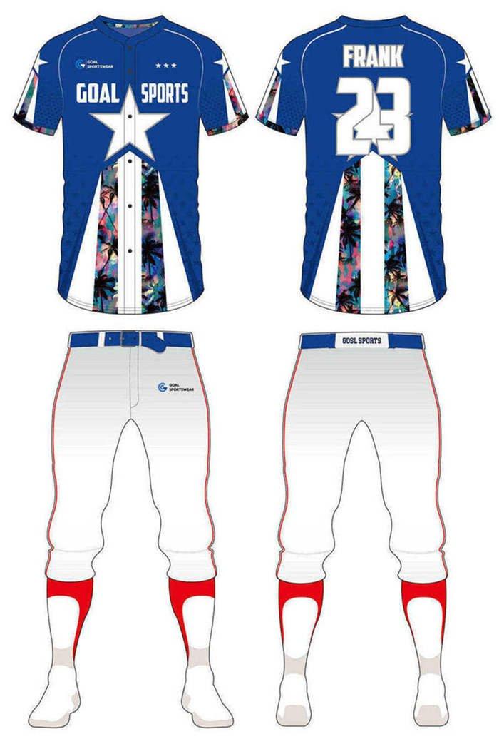 Pro quality sublimation printing custom design team custom camo baseball jersey