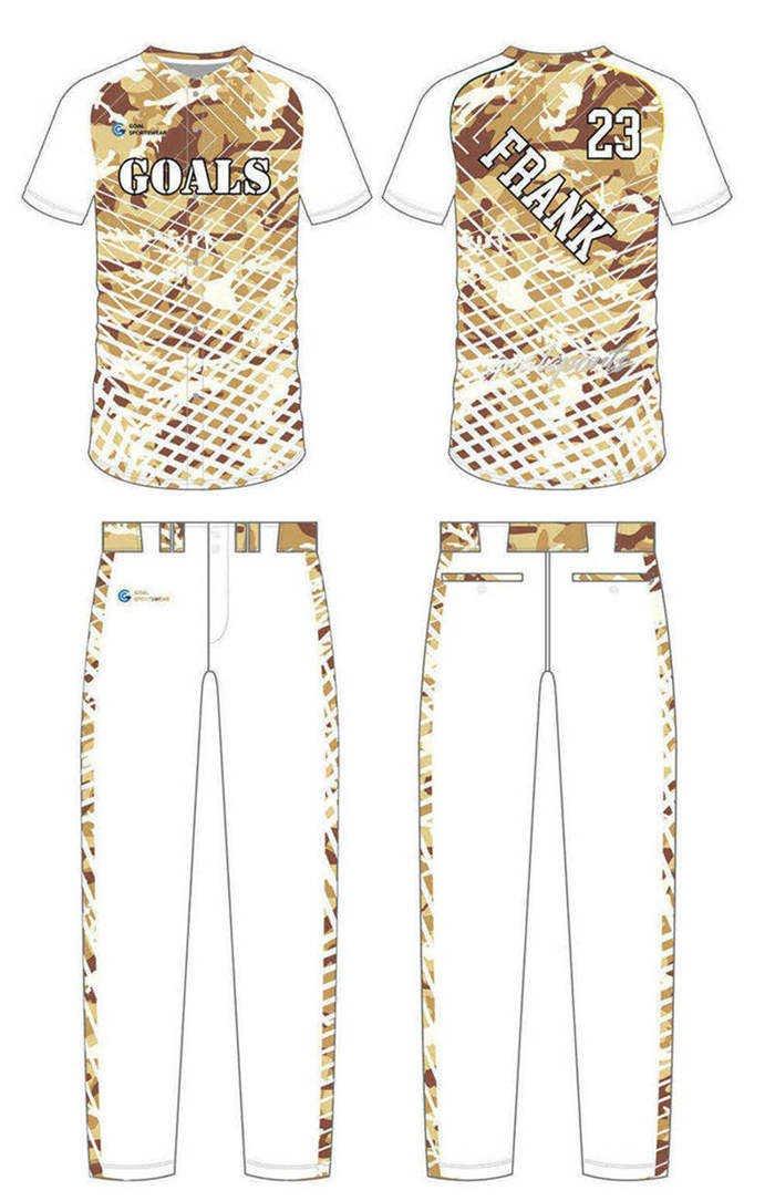 Sublimation high quality custom youth v neck custom camo baseball jersey