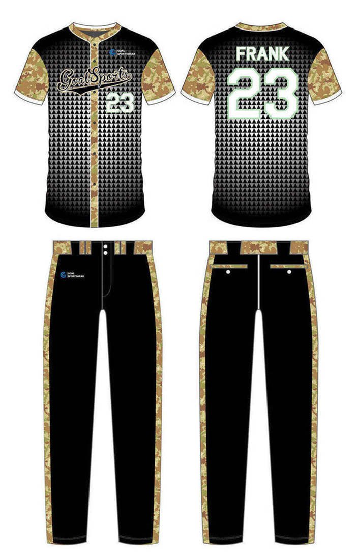 Sublimation printing 100% polyester dry fit custom custom camo baseball jersey