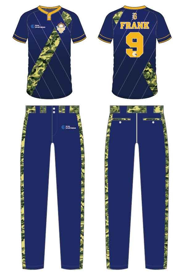 Wholesale pro quality custom design sublimated kids custom camo baseball jersey