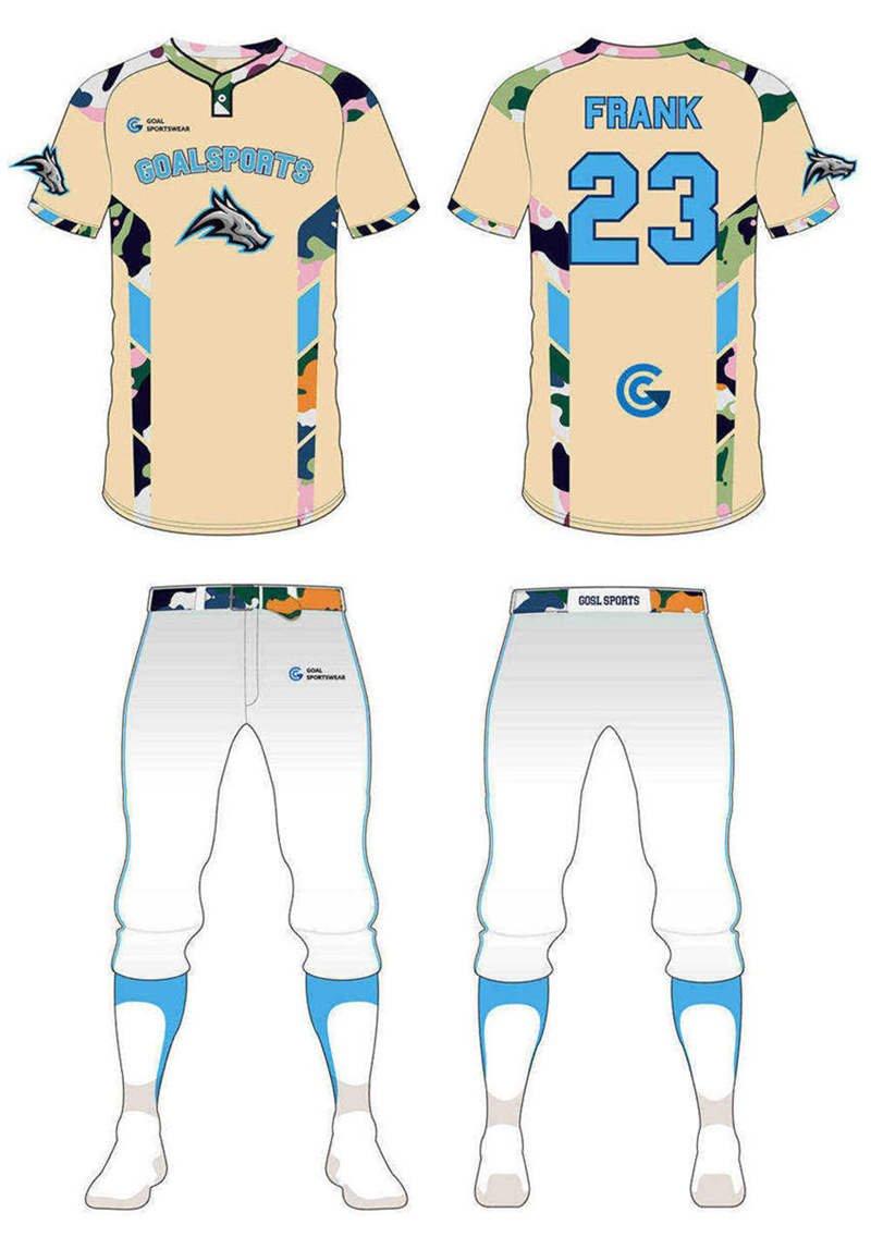 wholesale 100% polyester custom made sublimation custom camo baseball jersey