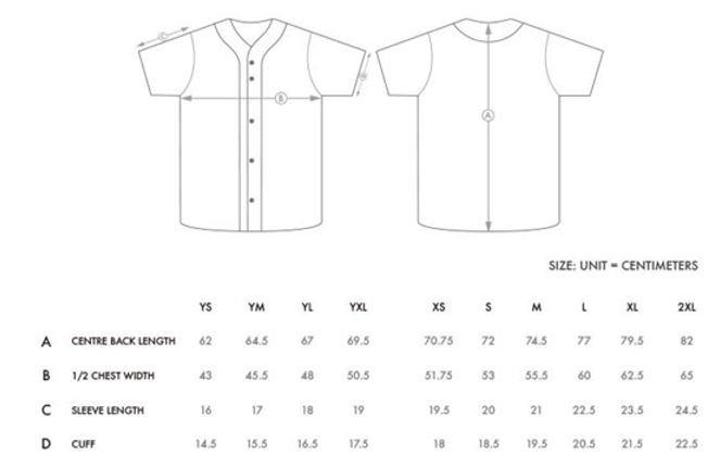 Sizes of full button baseball jersey