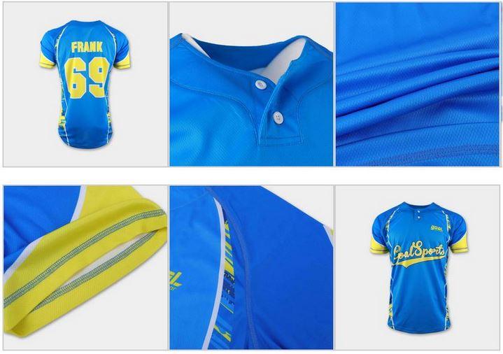 Custom two button baseball jersey