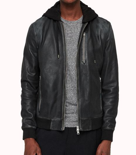 Leather bomber jacket with zipper