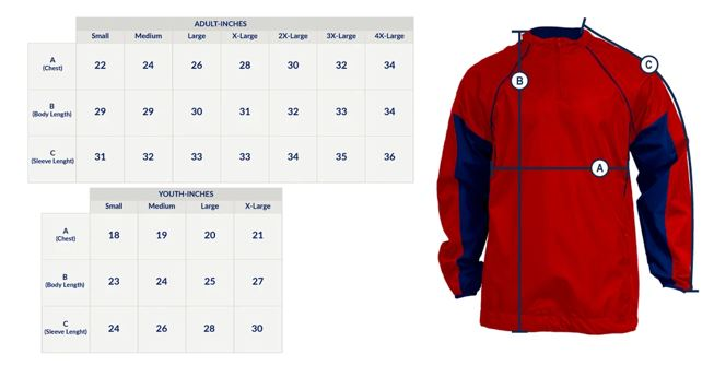 Baseball batting jacket sample size