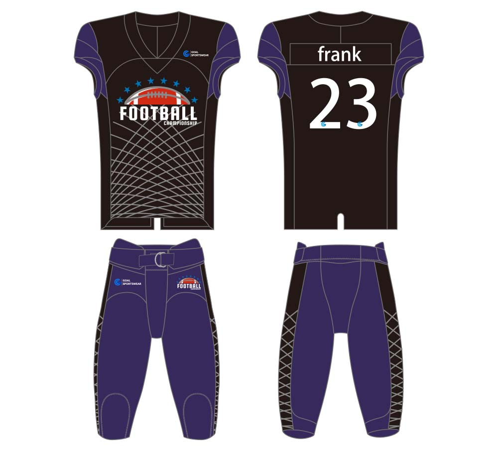 100% polyester sublimation custom printed football jersey design