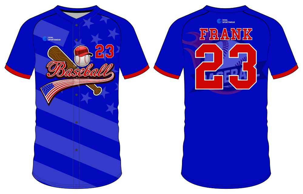 100% polyester sublimation printing custom youth team button down baseball jersey