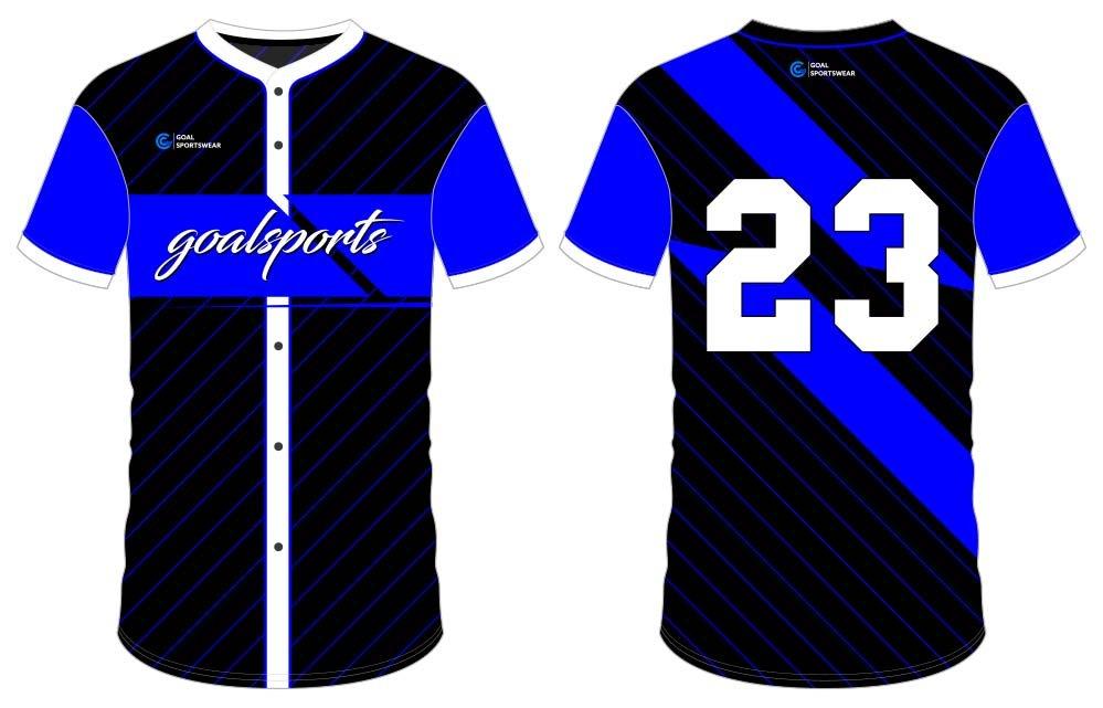 Breathable custom digital printing button down baseball jersey