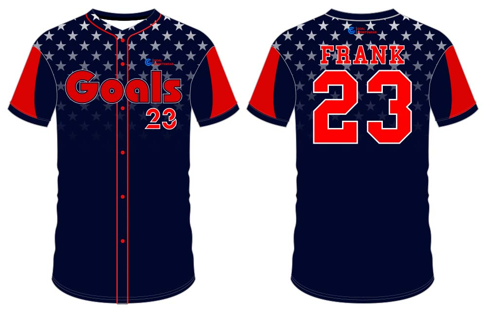 Custom made sublimation printing mens pro button down baseball jersey