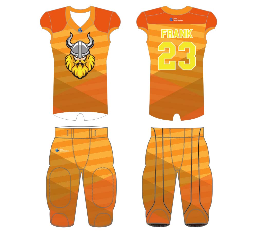 Custom made sublimation printing mens pro football jersey design