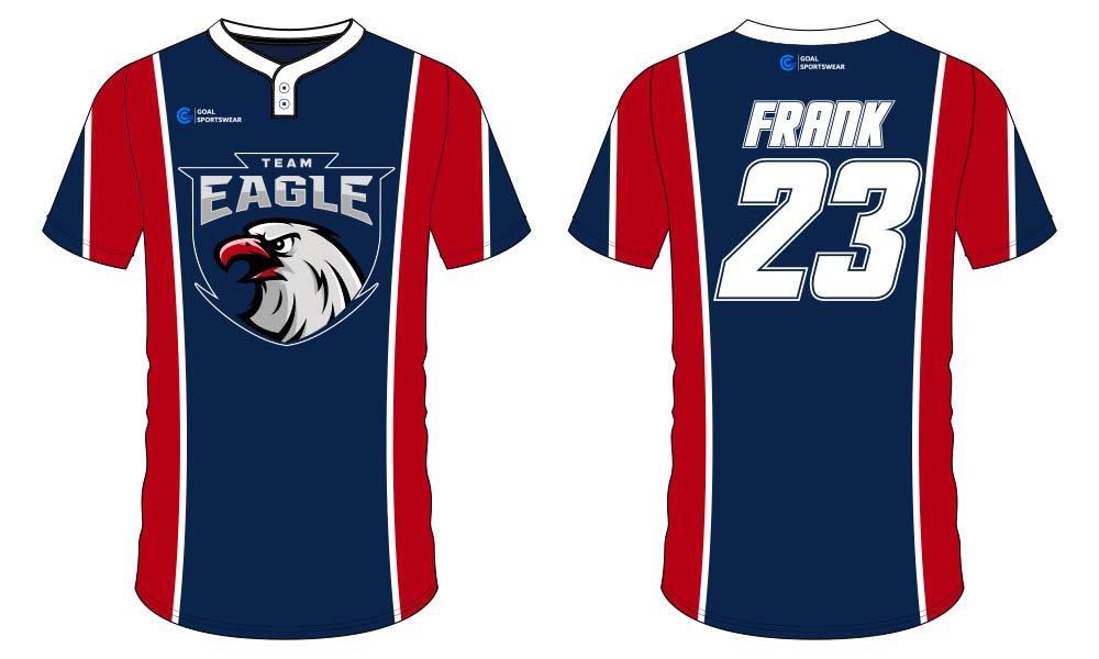 Custom made sublimation printing mens pro softball jersey design