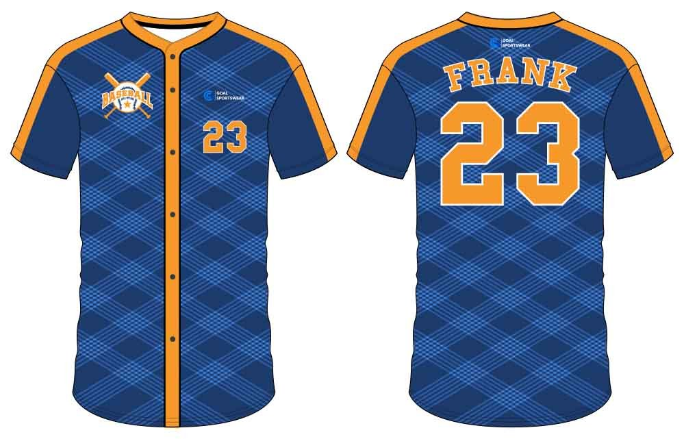 Custom wholesale sublimated printed button down baseball jersey