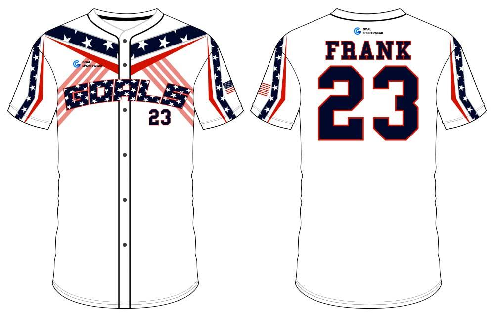 Dye sublimation custom design team button down baseball jersey
