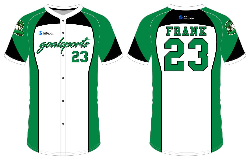 Dye sublimation printing Custom design youth button down baseball jersey