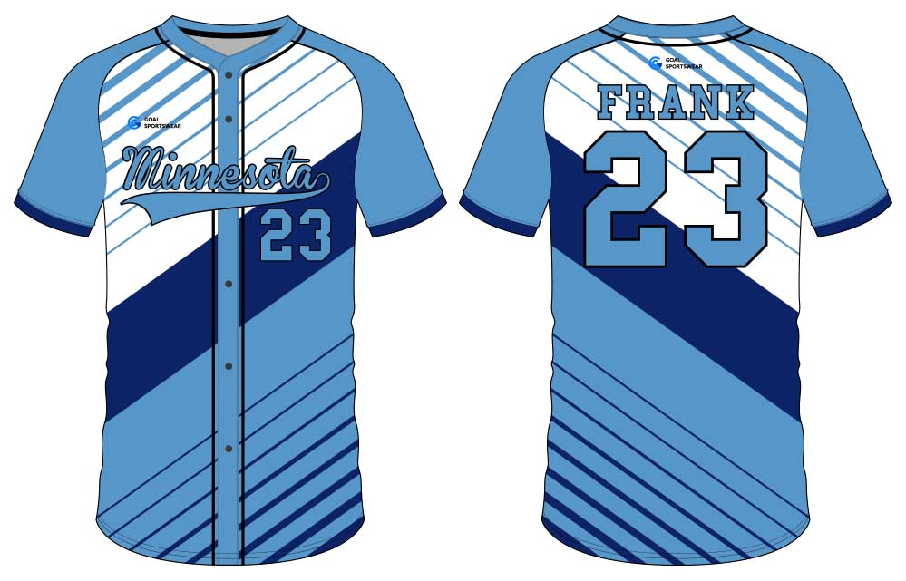 Dye sublimation printing custom design full polyester button down baseball jersey