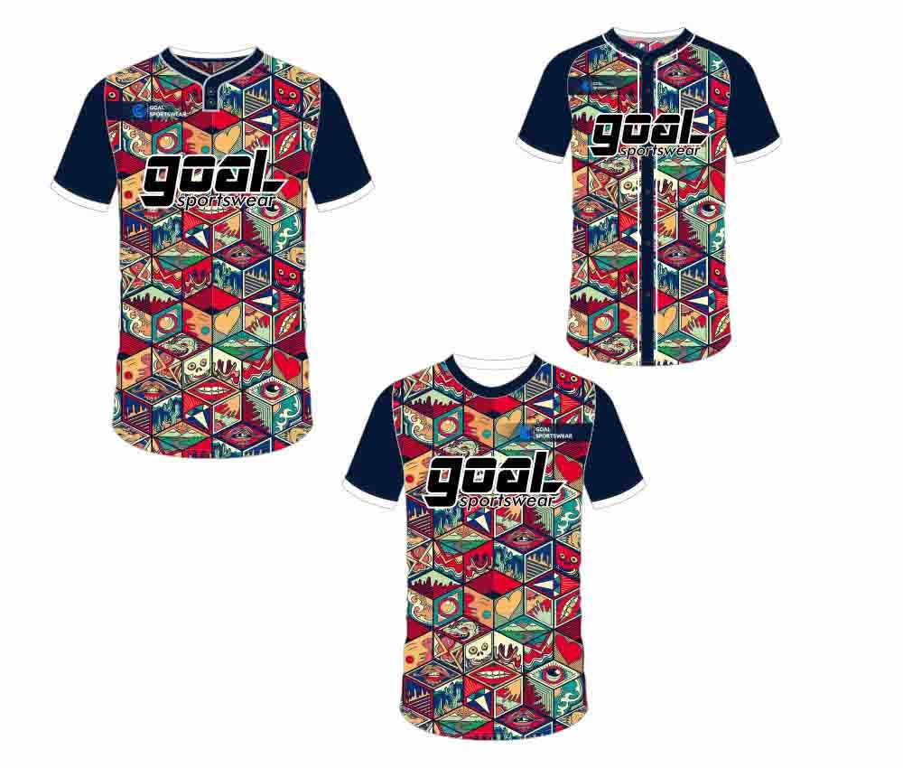 Dye sublimation printing custom design full polyester custom baseball gear