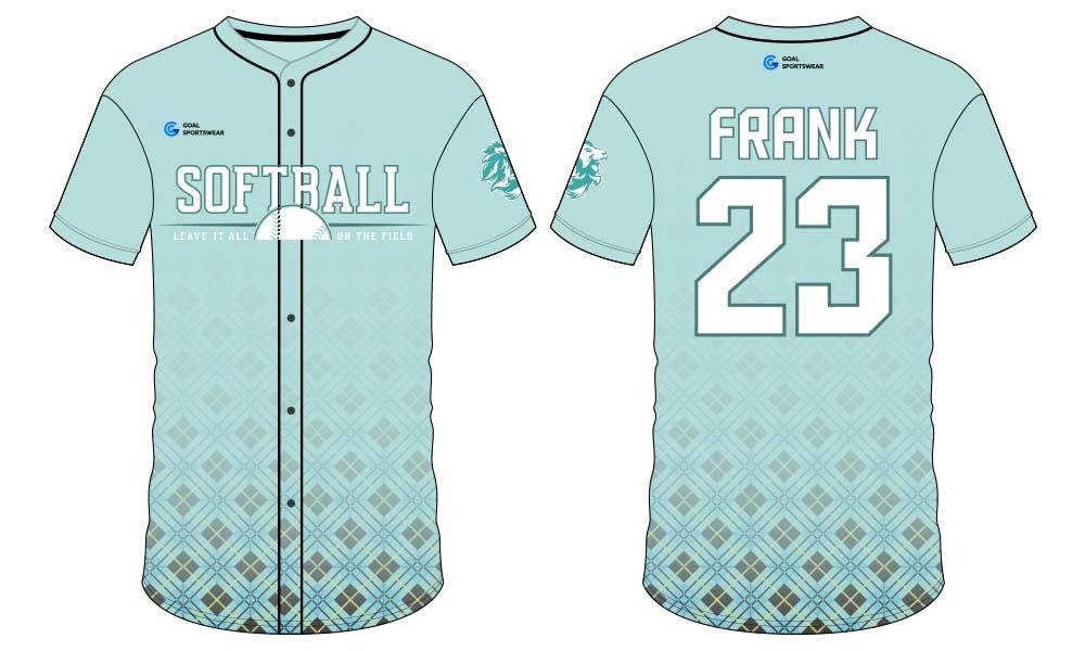 Dye sublimation printing custom design full polyester softball jersey design