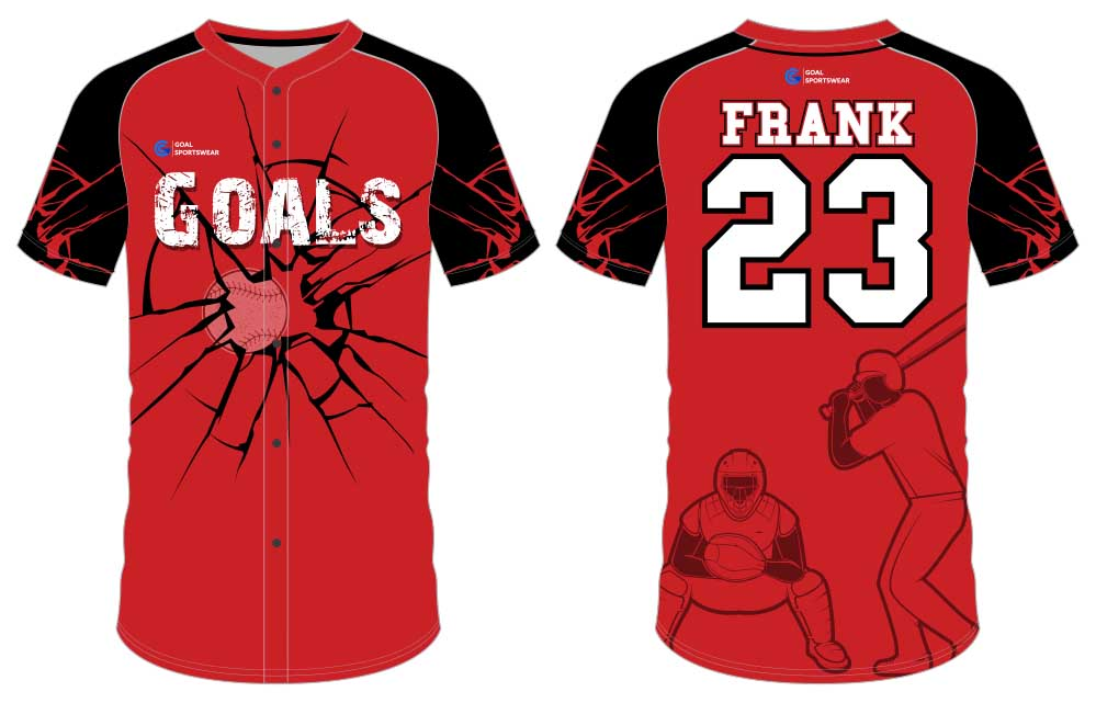 Full dye sublimation printing custom made team button down baseball jersey