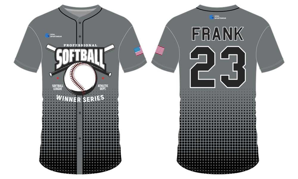 Full polyester Custom made durable mens team softball jersey design