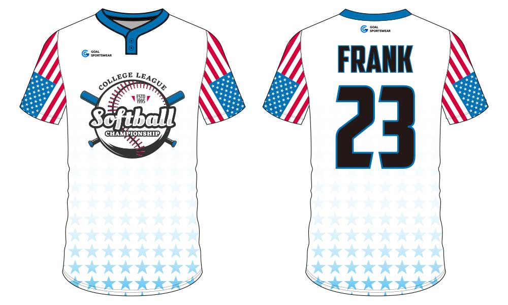 Sublimation printing 100% polyester dry fit custom softball jersey design
