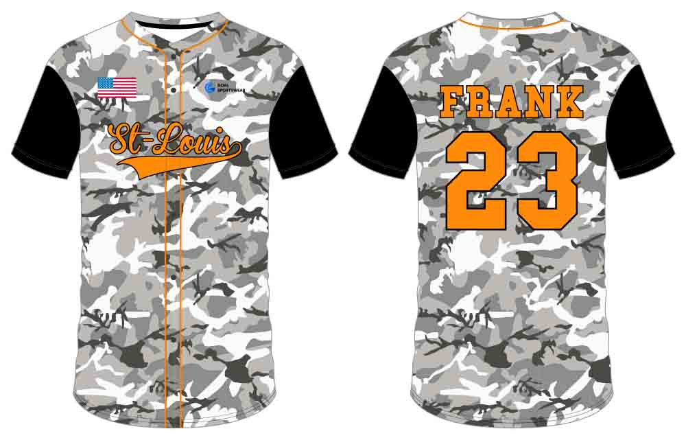 Wholesale high quality sublimation custom team button down baseball jersey