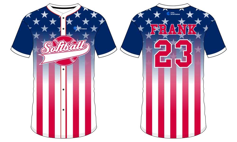 Wholesale high quality sublimation custom team softball jersey design