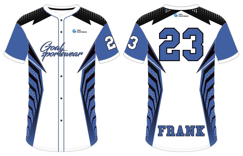 custom made full dye reversible button down baseball jersey