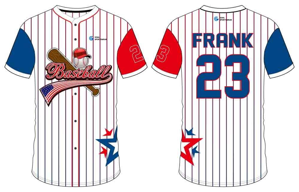 custom schoold team design button down baseball jersey
