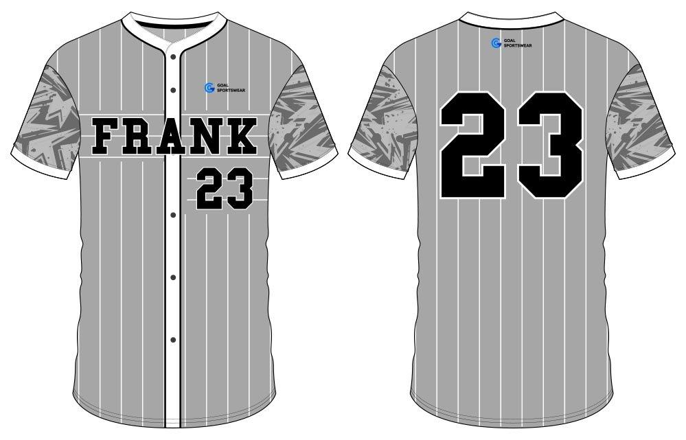sublimated custom high school button down baseball jersey
