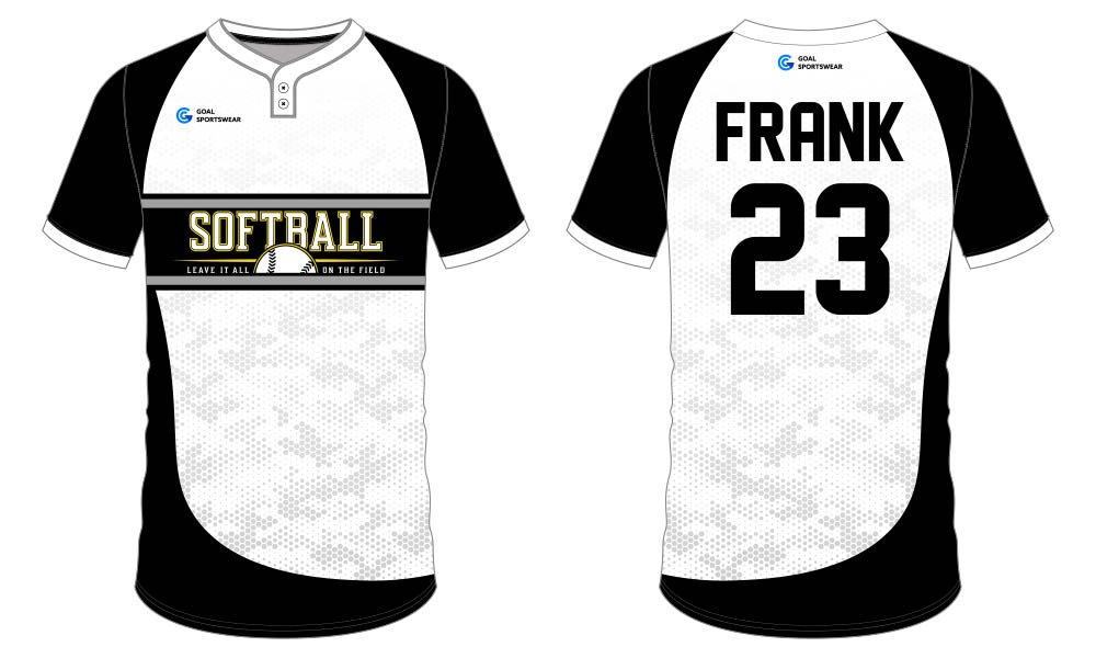 Wholesale 100% polyester custom printed college softball jersey design